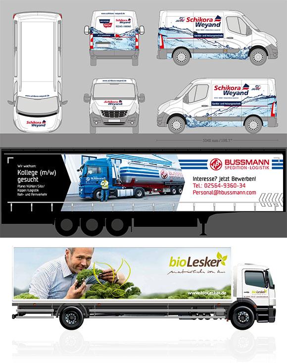 Weitere Beispiele für kreative Fahrzeugbeschriftungen