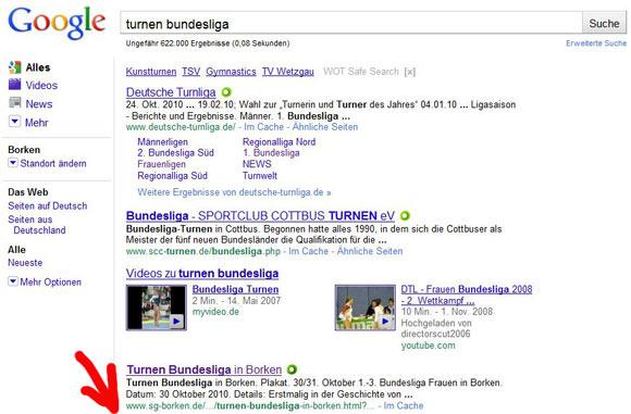 in der Bundesliga auf Google Rang 3